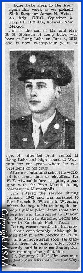 2nd Lt. James H. HEINZEN - Newspaper
