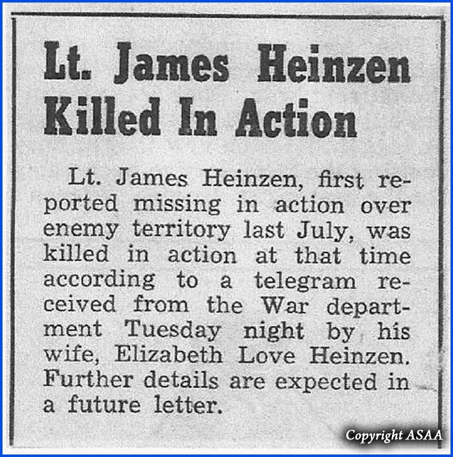 2nd Lt James H. HEINZEN - Presse