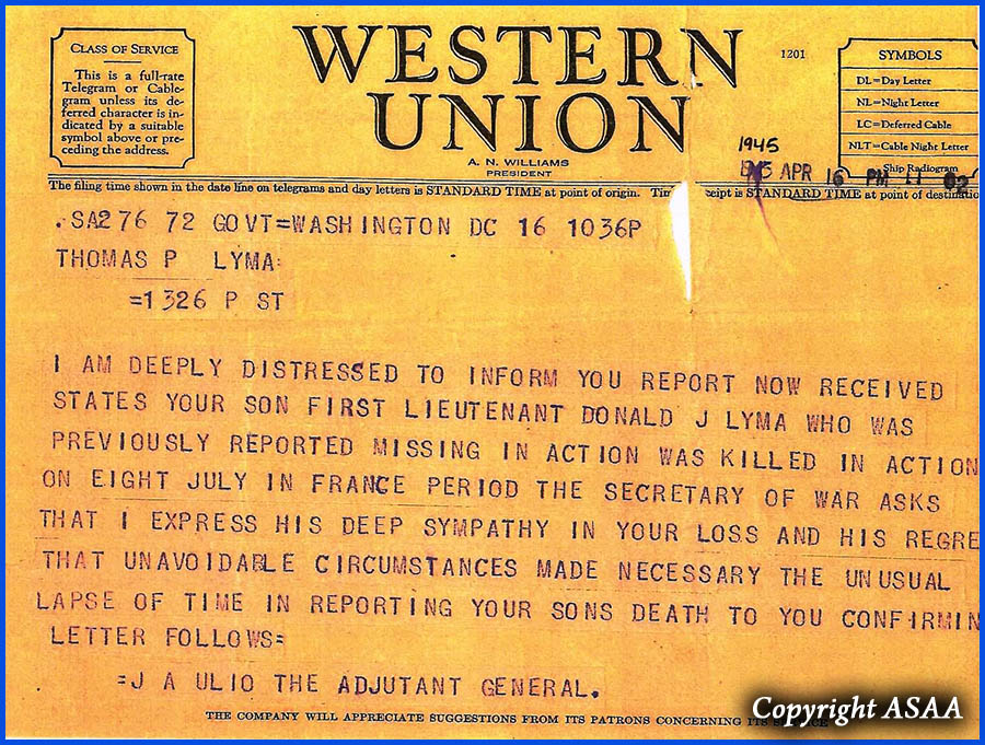1st Lt. Donald J. LYMA - Western Union Telegram