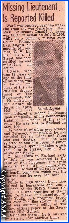 1st Lt. Donald J. LYMA - Newspaper