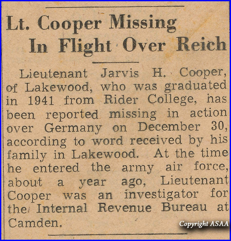 2nd Lt Cooper is missing