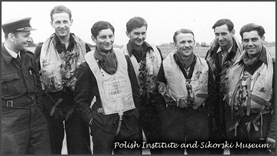 Brenzett. Picture taken after this flight. From left FLt Przymienski IO FO Swistun SLdr Horbaczewski FO Nowosielski FLt Cwynar WO Jankowski and WO Bedkowski . Missing on a