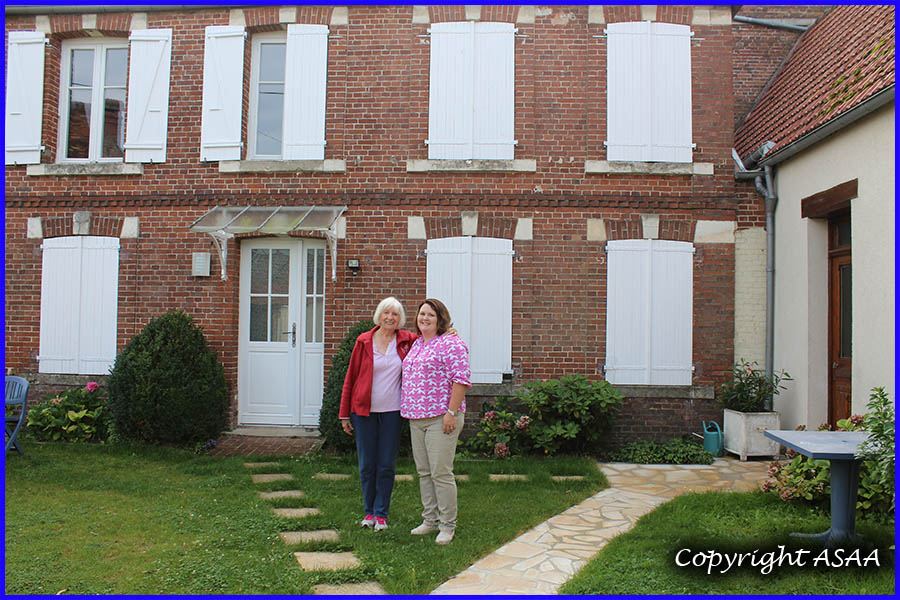 Bulles- Colette and Laura in front of the house where S/Sgt. Eugene A. Colburn was hidden.